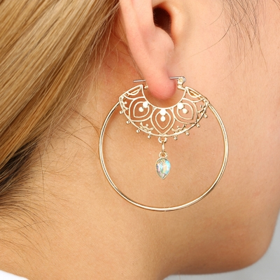 Fashion Alloy Round Circle Drop Earrings