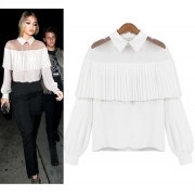 Turn-Down Collar Long Sleeve Pleated Shoulder Blouse