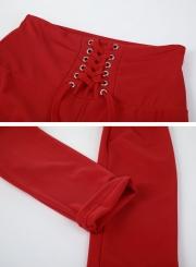 Fashion Solid Color Lacing Yoga Leggings