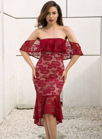 Strapless Lace Slim Flounce Party Dress