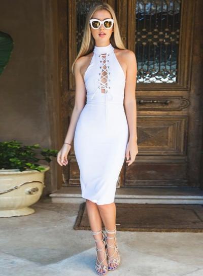 Women's Halter Lacing Sleeveless Bodycon Dress