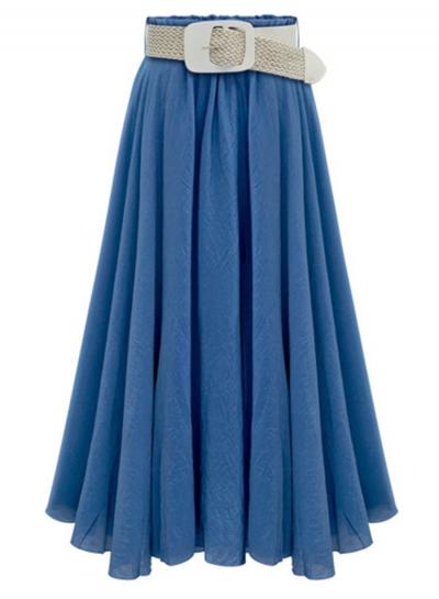Fashion Swing Skirt  with Belt Big Hem Skirt
