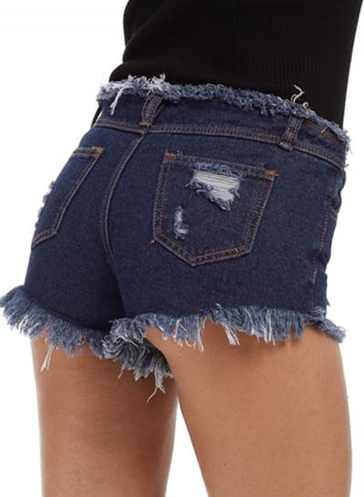 Fashion Washed And Brushed Denim Shorts
