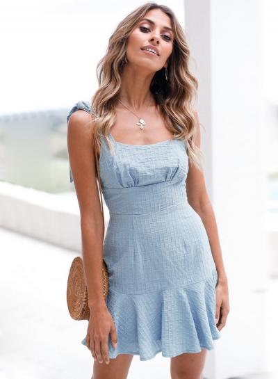 Fashion Square Neck Flounce Mini Dress