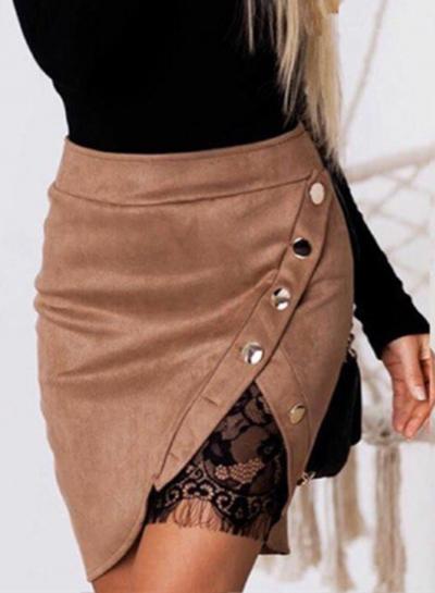 Fashion Buttons Lace Mini Skirt