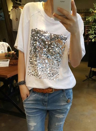 Sequin Decoration Short Sleeve Tee Shirt
