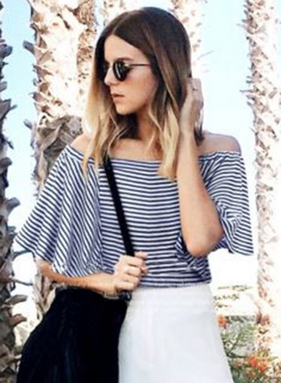 Slash Neck Striped Printed Tee Shirt