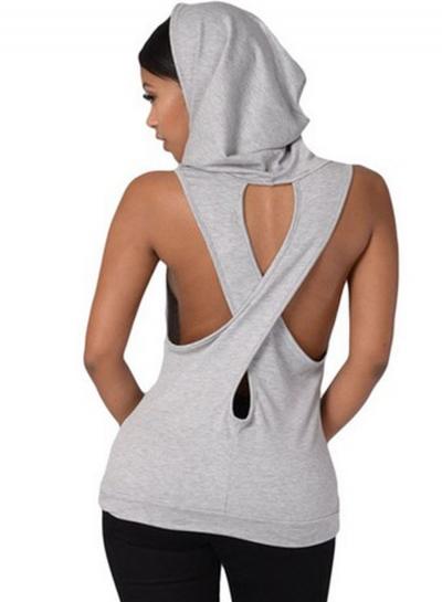 Hooded Back Cross Sleeveless Tee Shirt