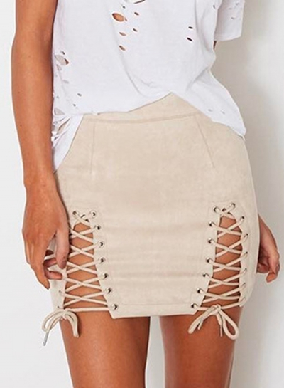 Fashion Lace-up front Mini Bodycon Skirt