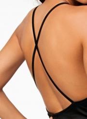 Fashion Sexy Black Cross Spaghetti Strap Backless Bodycon Dresses