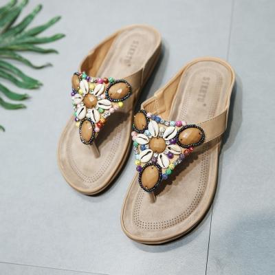 Apricot Fashion Bohemia Beach Thong Flat Women Sandals With String Bead stylesimo.com