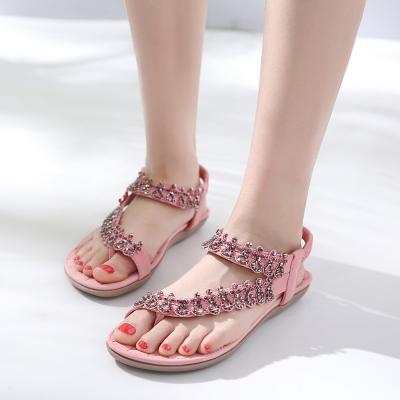Fashion Pink Bohemia Summer Beach Thong Flat Sandals With Crystal