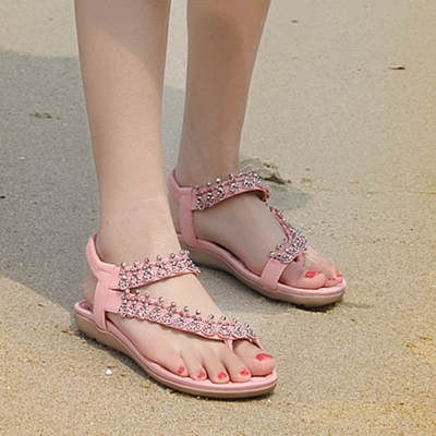 Fashion Pink Bohemia Summer Beach Thong Flat Sandals With Crystal stylesimo.com
