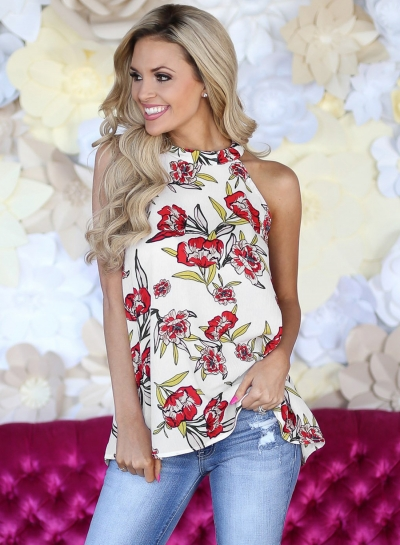Sleeveless Floral Printed  Tank Tops for Women