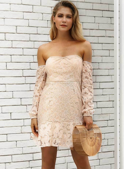 Sexy Off Shoulder Backless Lace Dress for Women