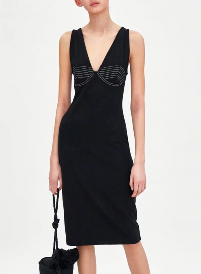 Line Decoration Strap Dress Slim Fit for Women