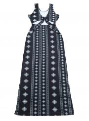 Fashion Sexy Striped Argyle Sleeveless Round Neck Slim Women Maxi Dress