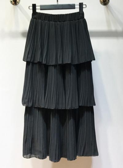 Fashion Solid Chiffon Multi-layer Flounce Pleated Women Layered Skirt