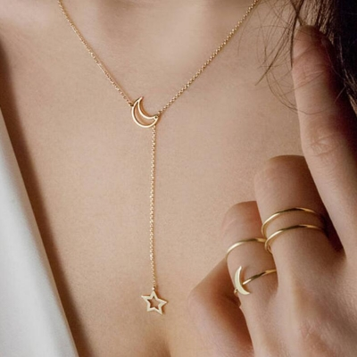 Fashion Simple Sweet Star And Moon Shapes Necklace