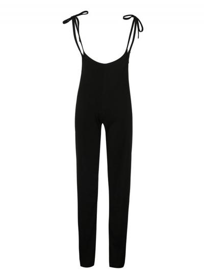 Fashion Solid Black Slim Lace-up High Waist Wide Leg Women Pants