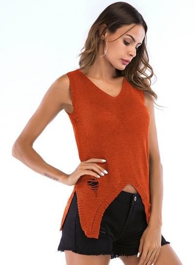 Sexy Irregular Sleeveless Hollowed Out V Neck Knit Tank Top