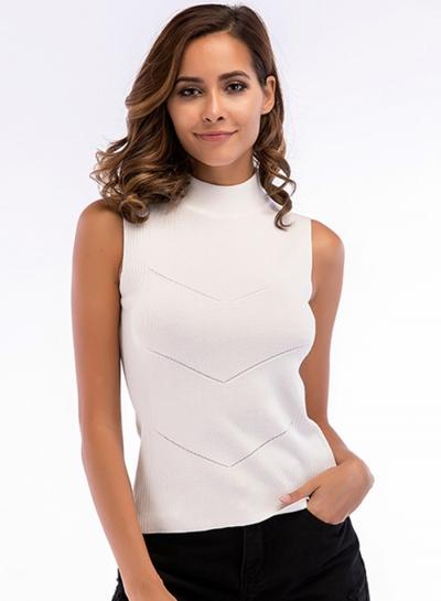 Fashion Solid Sleeveless Whorl Shape High Neck Women Knitr Tank Top