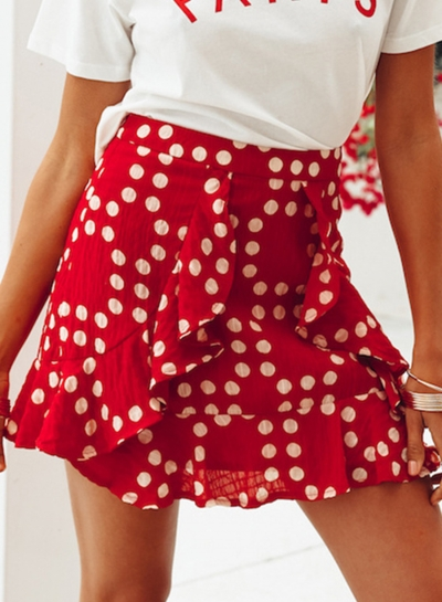 Fashion Vocation Flounced A-line Short Skirt With Polka Dots