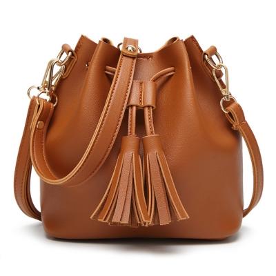 Vintage Solid Leather Handbag Cross Body Women Shoulder Bag With Tassels
