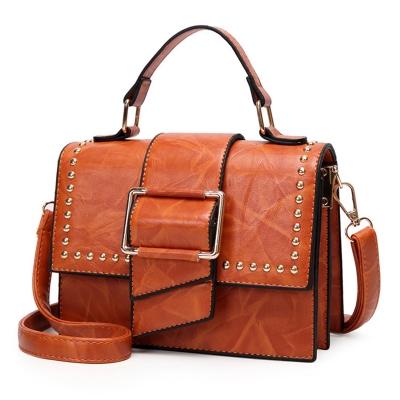 Vintage Leather Handbag Cross Body Shoulder Bag With Rivet
