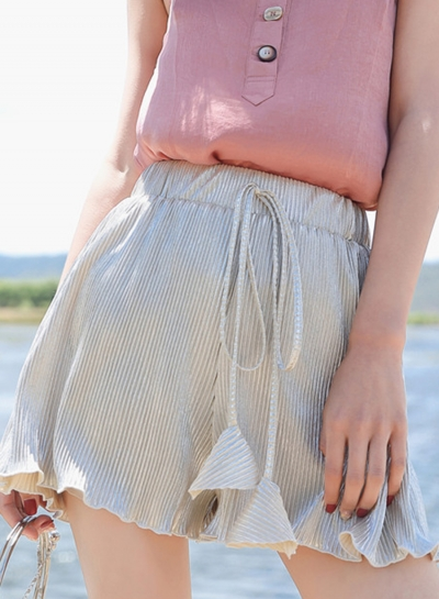 Fashion Casual Solid Wide Leg Pleated Shorts With Drawstring