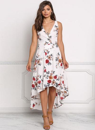 Irregular Chiffon Floral Printed Tie Waist V Neck Midi Dress