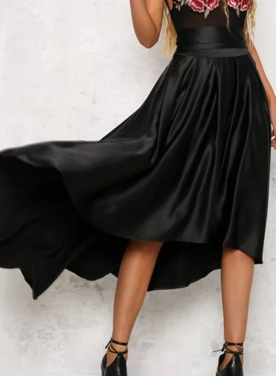 Fashion Cocise Solid Irregular Lace-up Pleated Women Long Skirt With Zip