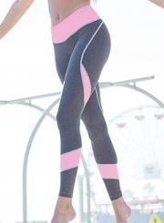 Fashion Sexy Printed Color Blocked Heart Shape Yoga Leggings