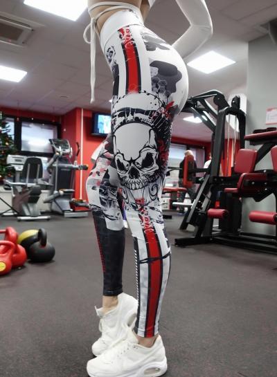 Fashion Sexy Slim Skull Pattern Printed High Waist Women Sports leggings