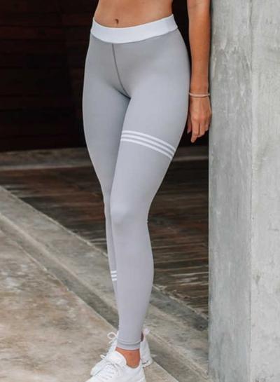 Fashion Slim Striped Color Blocked Sports Leggings