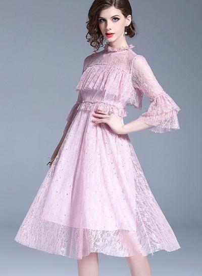 Sweet Slim Mesh Spicing Flounce Sleeve Round Neck Women A-line Midi Dress