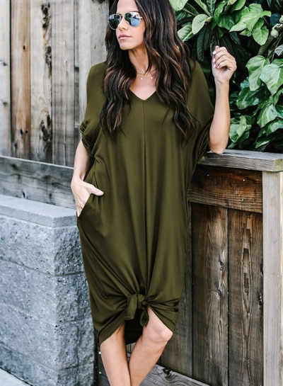 Casual Loose Solid Half Sleeve V Neck Dress With Pockets