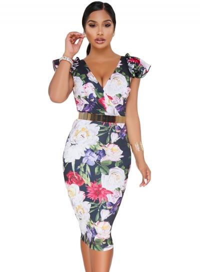 Sexy Dark Blue Bodycon Midi Dress with Floral Print