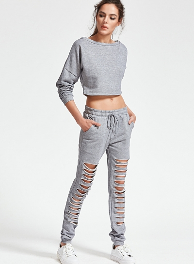 Solid Ripped Long Sleeve Round Neck Crop Top Lace-up Pants Set