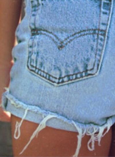 Summer Casual Denim High Waist Burrs Shorts With Pockets stylesimo.com