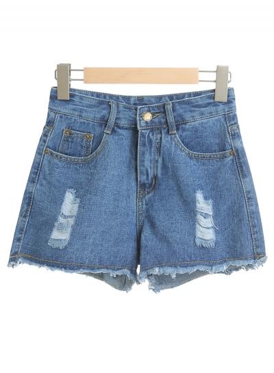 Casual Ripped Burrs Denim High Waist Wide Leg Hot Shorts With Zipper Fly