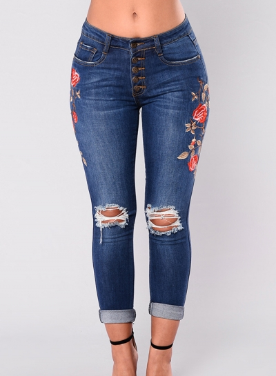 Casual Slim Ripped Embroidered Front Buttons Rolled Jeans