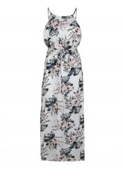 Sexy Halter High Split Elastic Waist Design  Dress