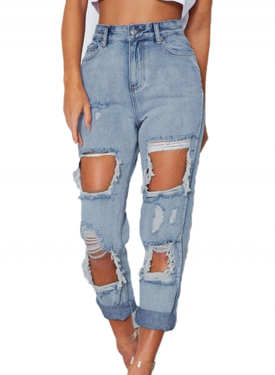 Casual Solid Retro Wash Destroyed Zipper Fly Jeans With Pockets