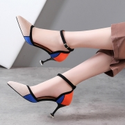 Pointed Toe Ankle Strap Patch High Heels Pumps