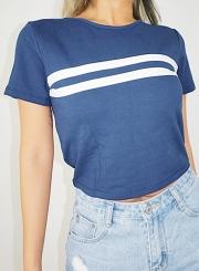 Summer Casual Slim Colorblock Short Sleeve Round Neck Pullover Crop Top