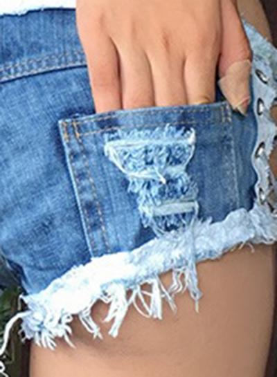 Fashion Sexy Low Waist Zipper Fly Side Lace-Up Denim Burrs Hot Shorts stylesimo.com
