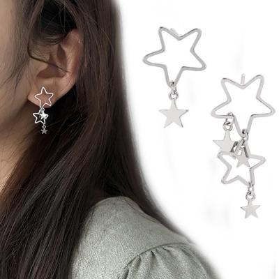 Fashion Sweet Asymmetric Pentagram Hollow Out Women Drop Earrings