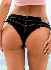 Summer Casual Beach Slim Retro Wash Low Waist Zipper Fly Denim Hot Shorts