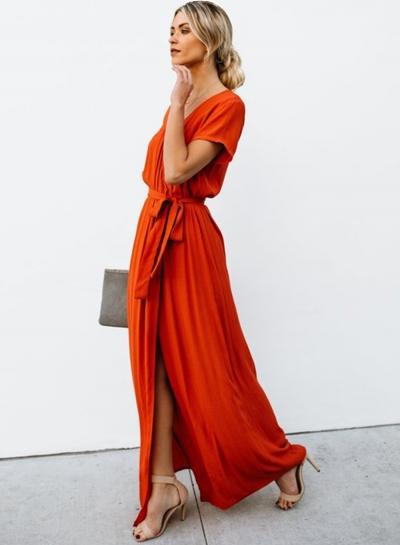 Elegant Solid Short Sleeve V Neck Waist Tie High Slit Maxi Dress